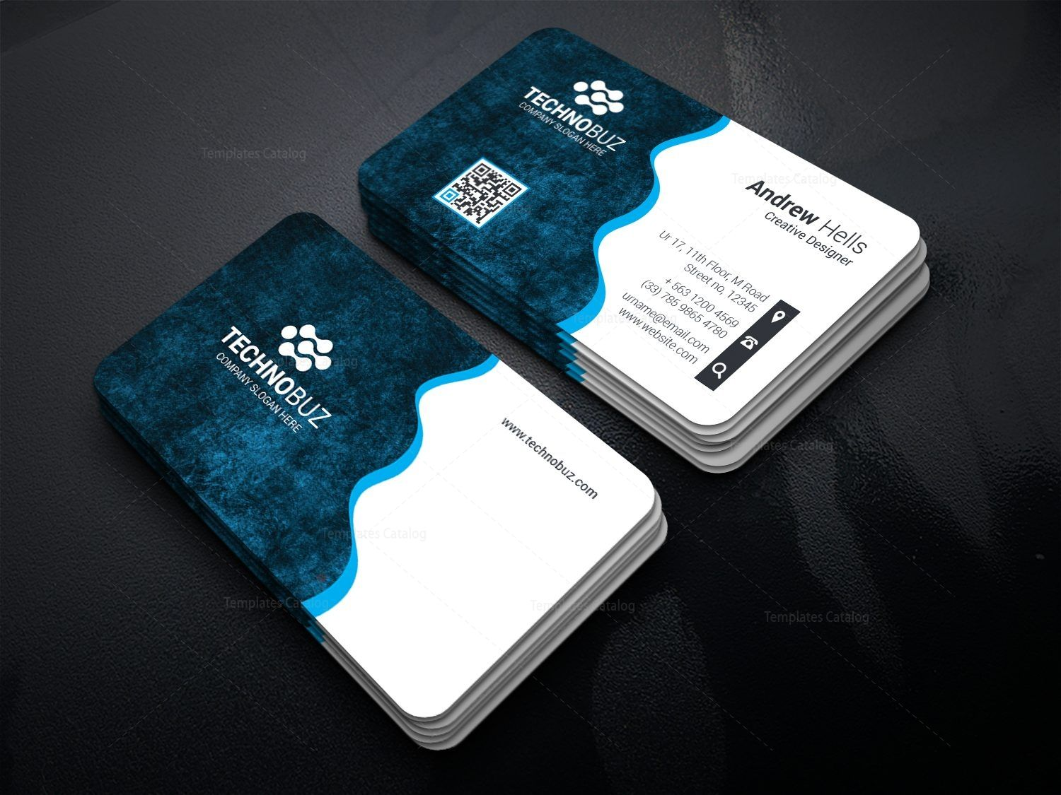 Wavy Technology Business Card Template 000754 Template Catalog Business Card Logo Design Business Cards Layout Business Cards Creative