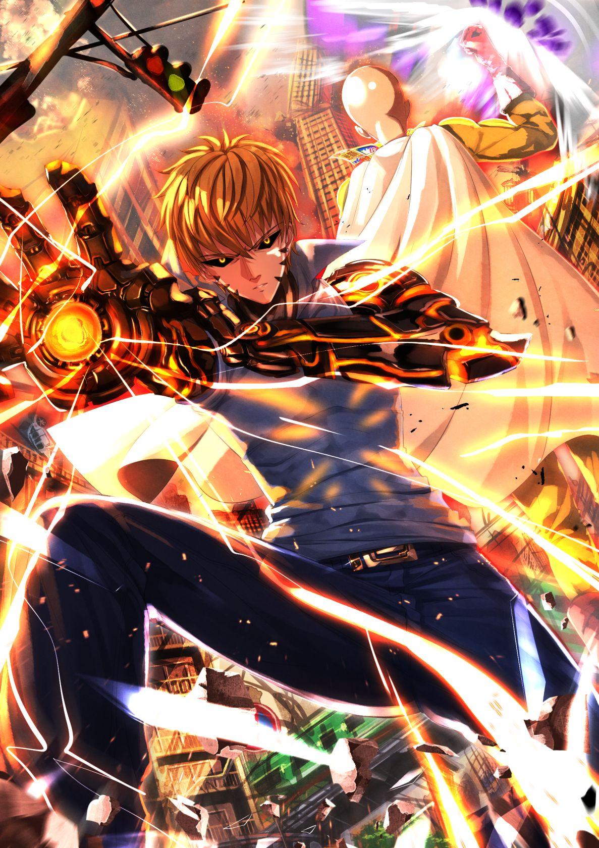 One Punch Man, Saitama (One Punch Man), Genos Anime one