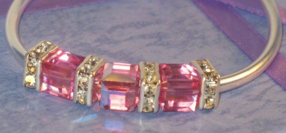 Clear AB Crystal Rose Bracelet Bangle NEW