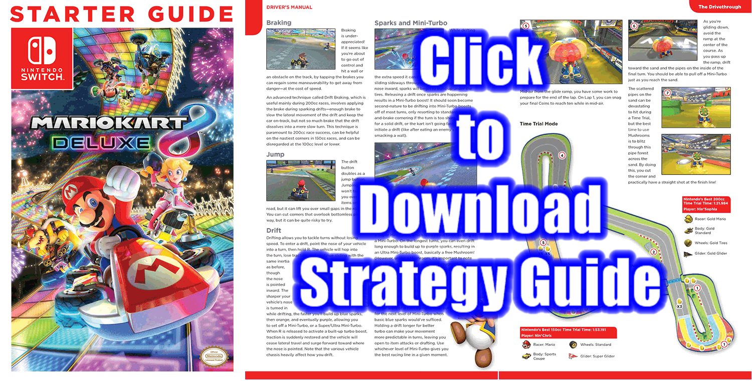 Mario Kart 8 Deluxe free strategy guide download PDF official game  walkthrough