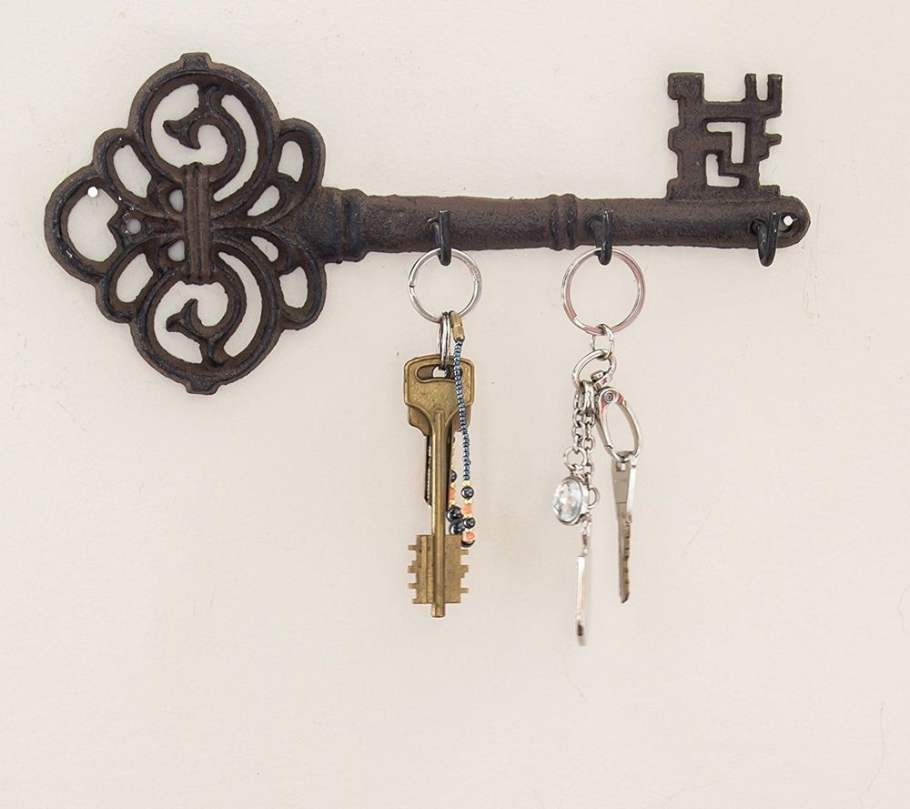 Decorative Wall Mounted Hanging Key Holder 3 Hooks Rustic Cast