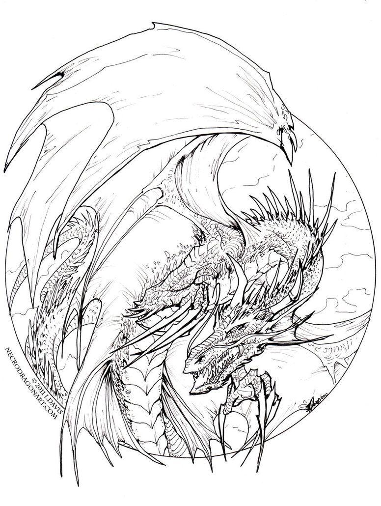 Circle Dragon - lineart by drakhenliche on DeviantArt | Lineart ...