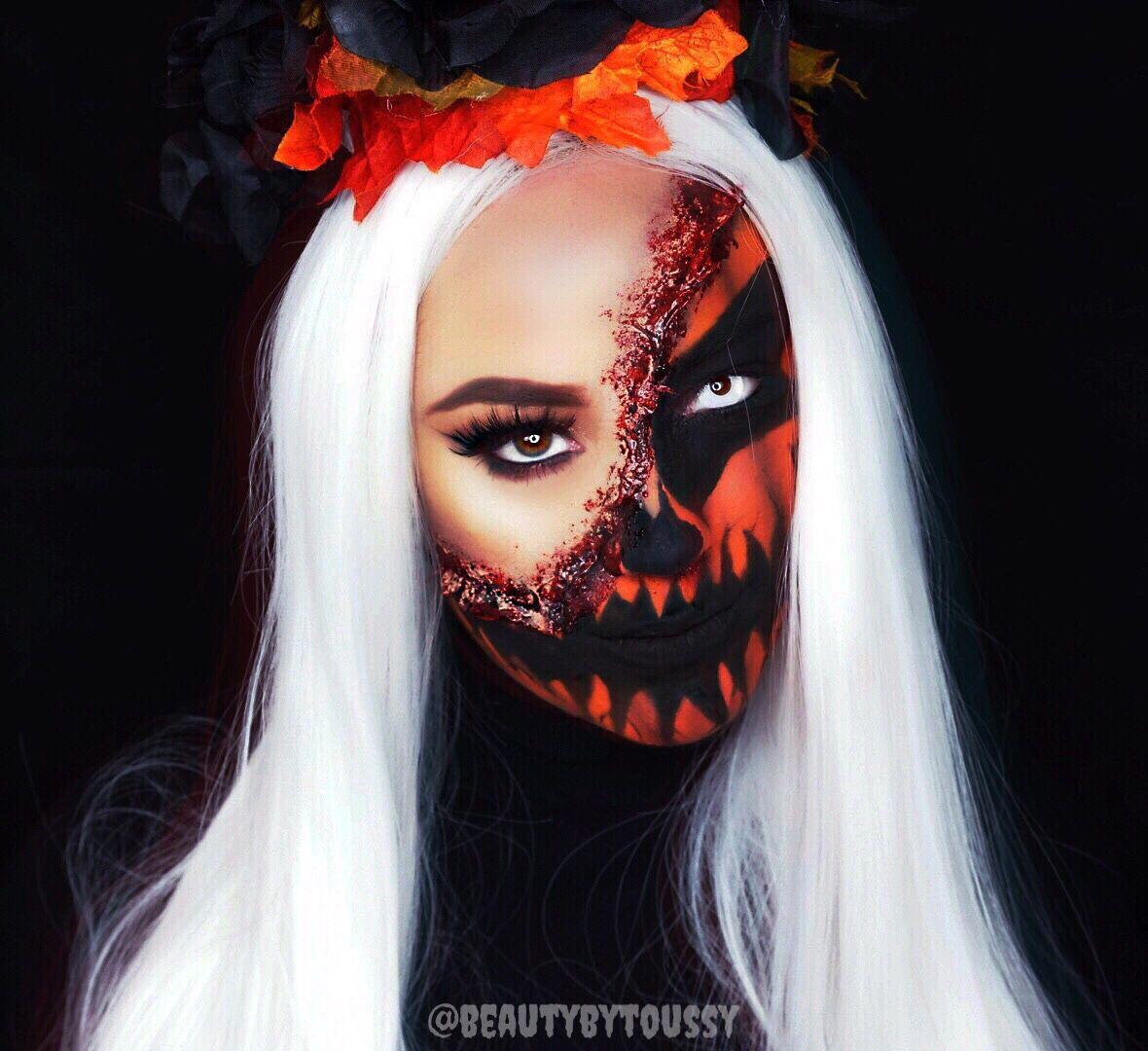 Pumpkin Makeup Look! Half Face Makeup Look! Halloween