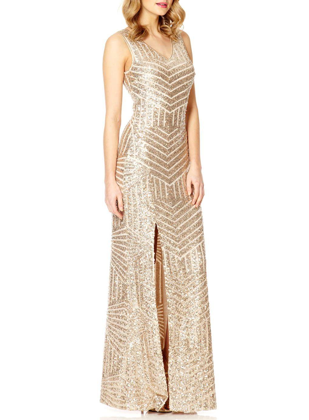 Quiz V Neck Sequin Maxi Dress Split Maxi Dress Maxi Dress Dresses [ 1385 x 1018 Pixel ]