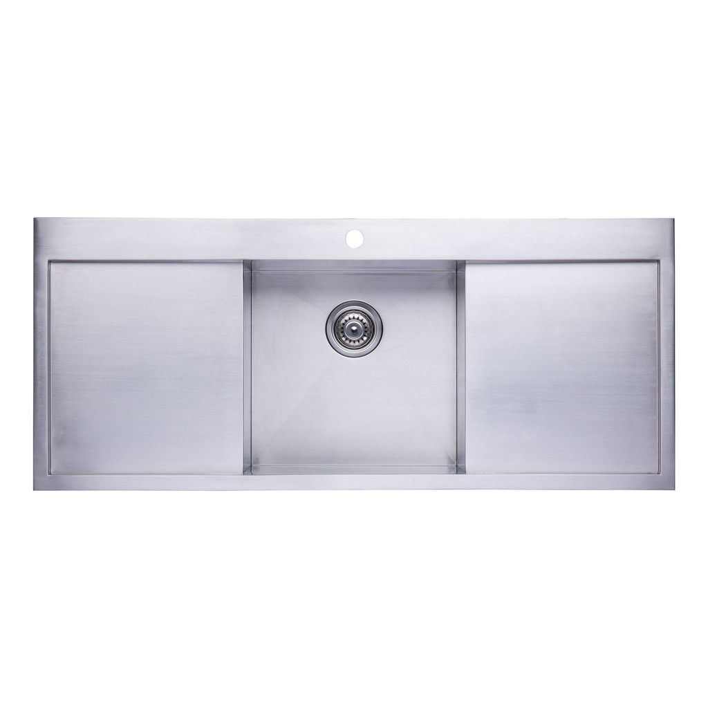 Bai 1237 Stainless Steel 16 Gauge Kitchen Sink Handmade 48 Inch Top Mount Single Bowl With 2 Drainboards Stainless Steel Kitchen Stainless Steel Kitchen Sink Kitchen Sink