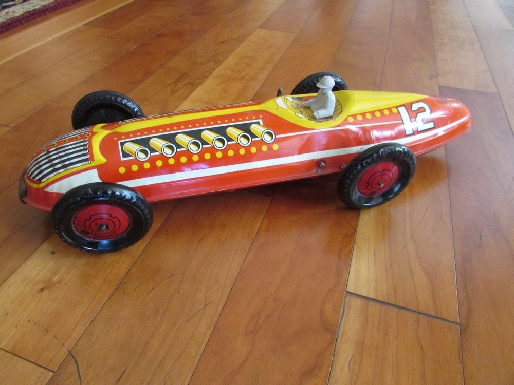 Antique Marx 1950s Indy Race Car Tin Litho Wind Up Ok With Driver Toy 16 5 Long Toys Hobbies Vintage Antique Toys Wind Up Toys Ebay Fordon