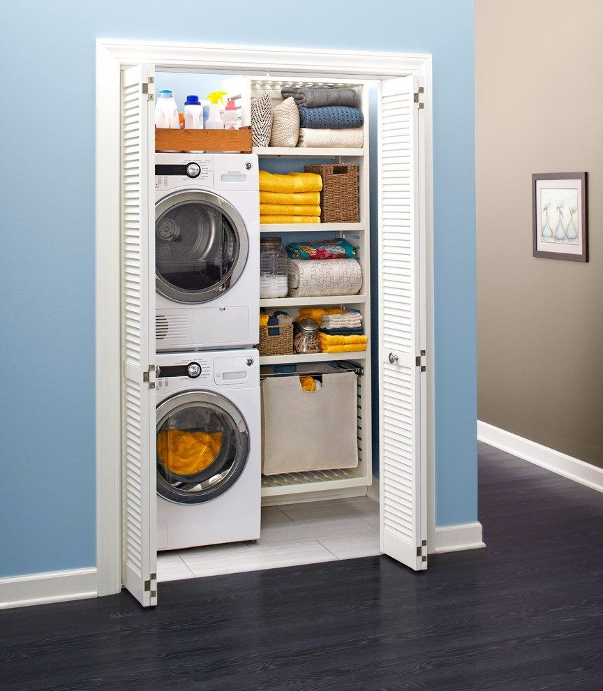 Laundry Closet Laundry Room Transitional With Bifold Door Closet