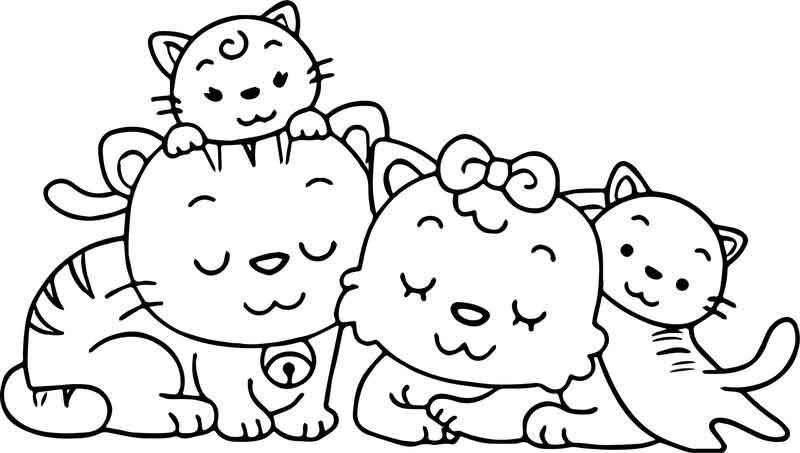 Animal Cat Family Coloring Page Family Coloring Pages Bee Coloring Pages Monkey Coloring Pages