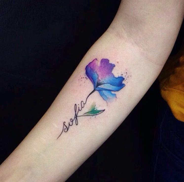 watercolor tattoo flower - 736×726