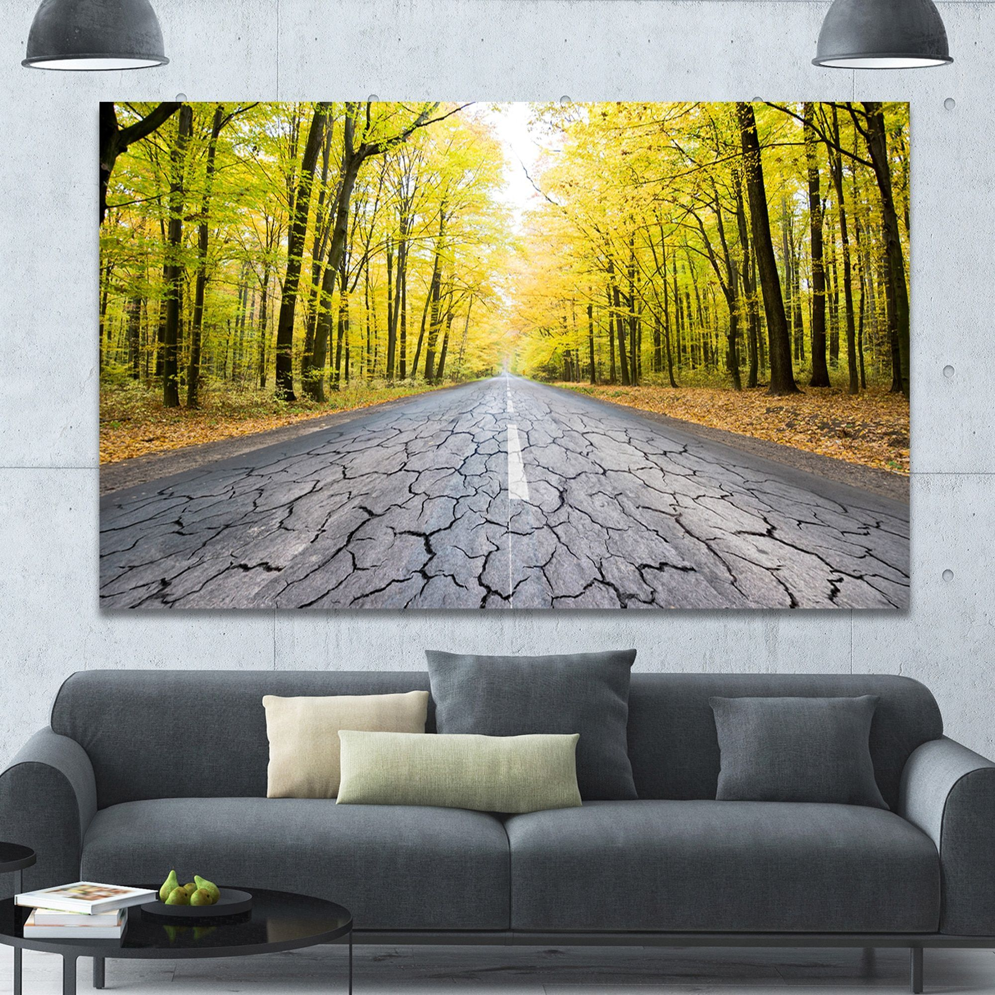 Designart \'Cracked Road in the Forest\' Extra Large Landscape Canvas ...