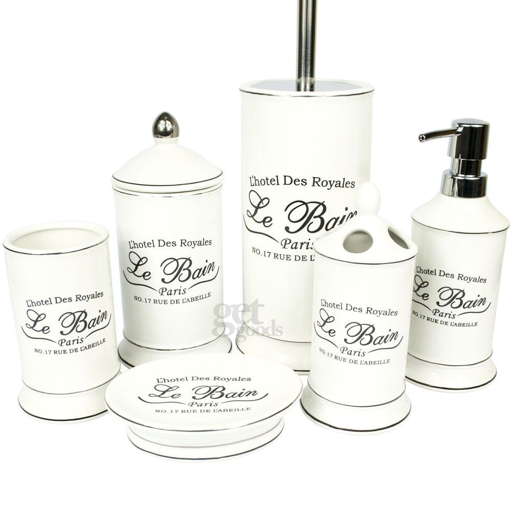 The Le Bain Range Of Bathroom Accessories Includes A Soap Dish Tumbler Lotion Dispenser Cotton Bud Jar Tooth Brushholder And Toilet Brush