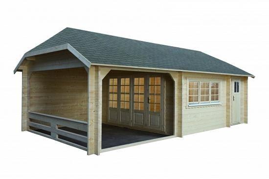 Gartenhaus Modell Wolfskappe50 A mit Geräteraum 4x3+3A
