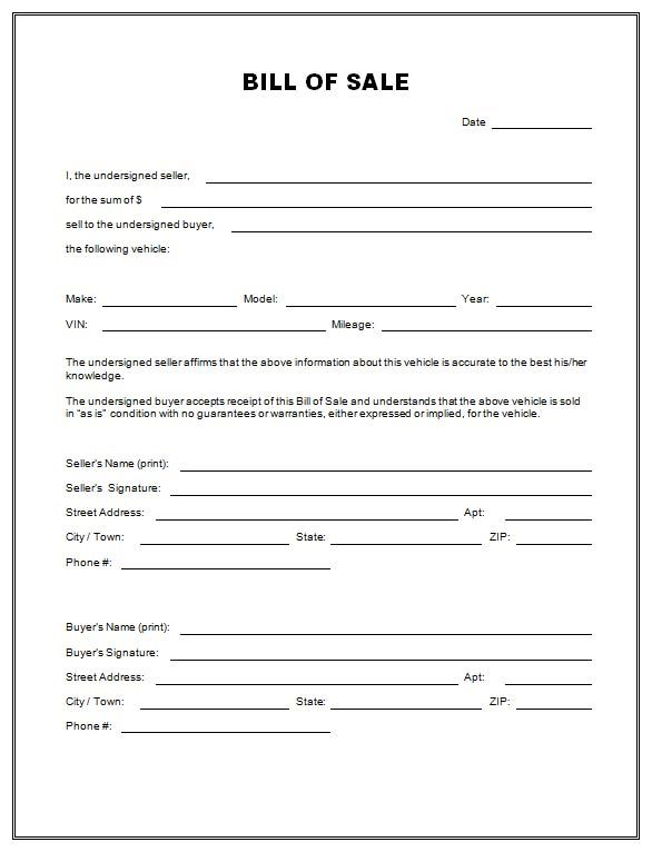 Bill of Sale Form - Printable Car  Vehicle Bill of Sale Template