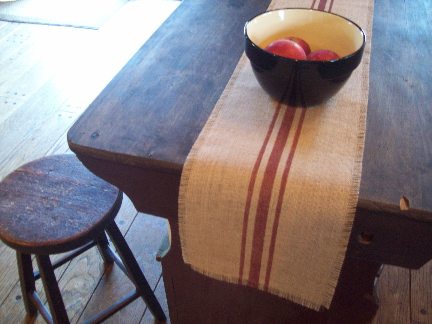 Farmhouse Style Table Runners Burlap Table Runner With Hand Painted Grain Sack Style