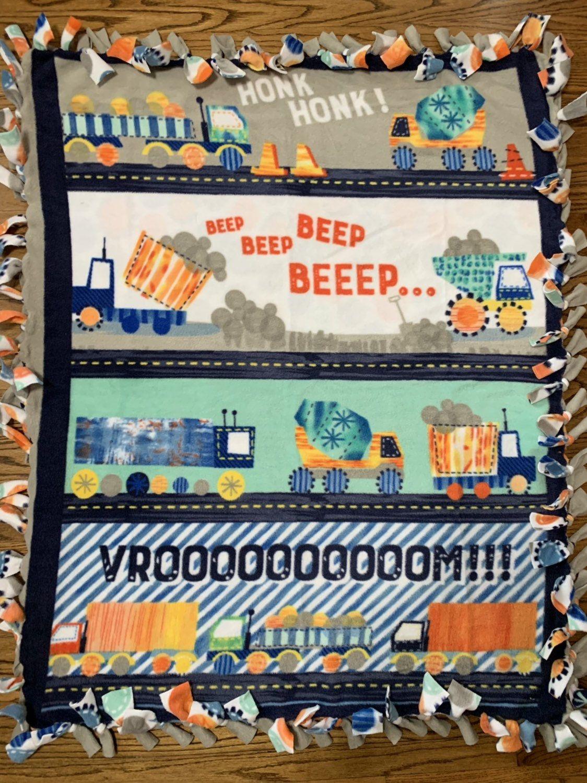 Kids Transportation Vehicles Fleece Tie Blanket Fleece