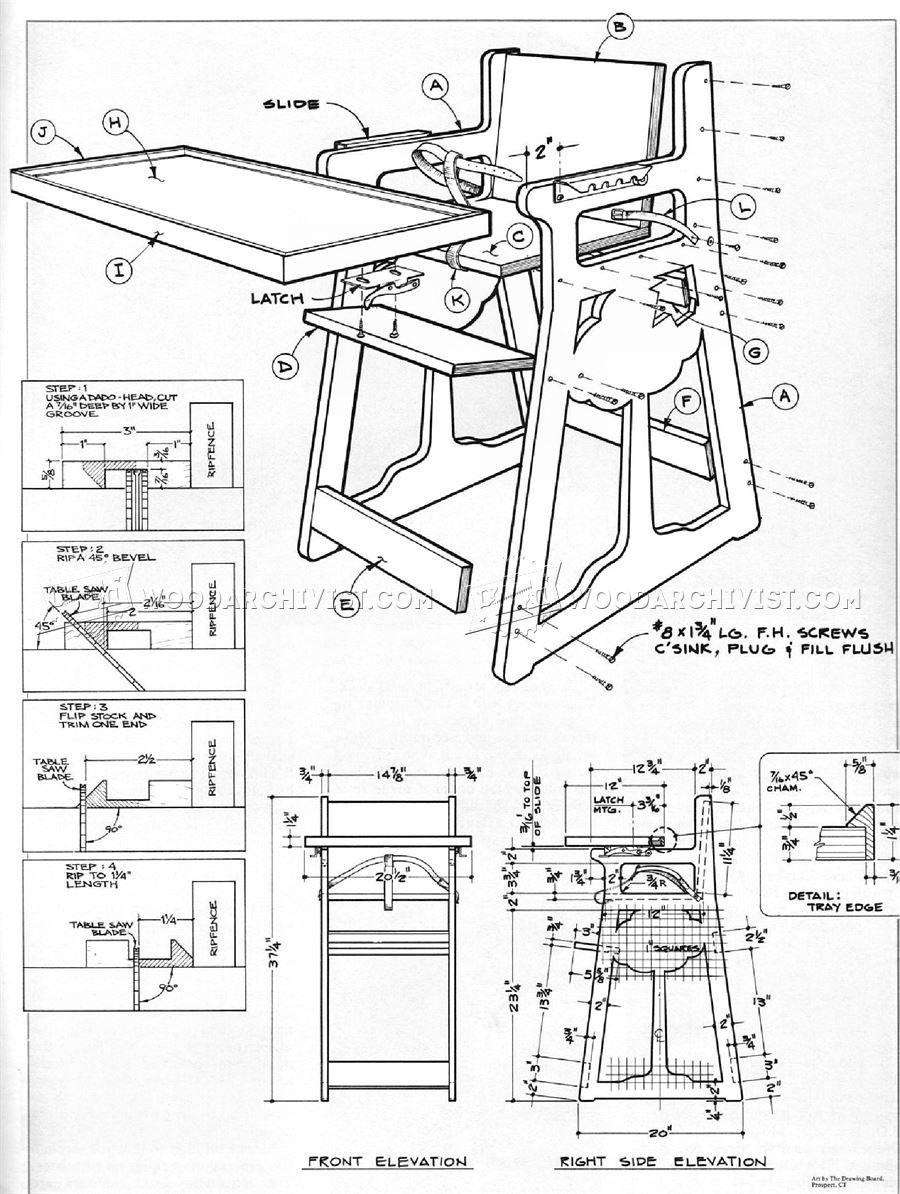 drawing furniture plans. diy high chair - children\u0027s furniture plans drawing u