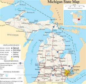 Michigan State Map A Large Detailed Map Of Michigan State Usa