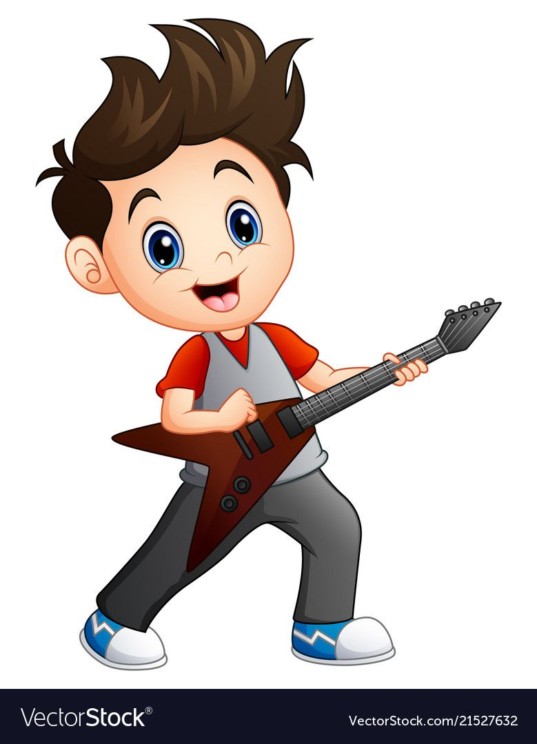 Cartoon Boy Playing Electric Guitar Royalty Free Vector Cute Cartoon Boy Cartoon Boy Kids Clipart
