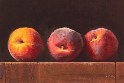 Three Peaches at Sunset - Oil painting by Abbey Ryan