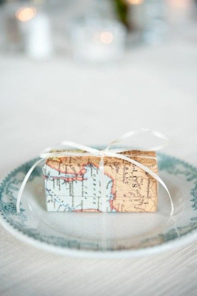 A map as a package paper would be cute.  Missions conference favors!!!