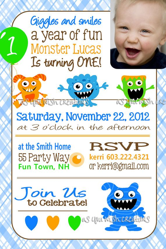 Monster Birthday Party Invitation Photo by AsYouWishCreations4u, $14.00