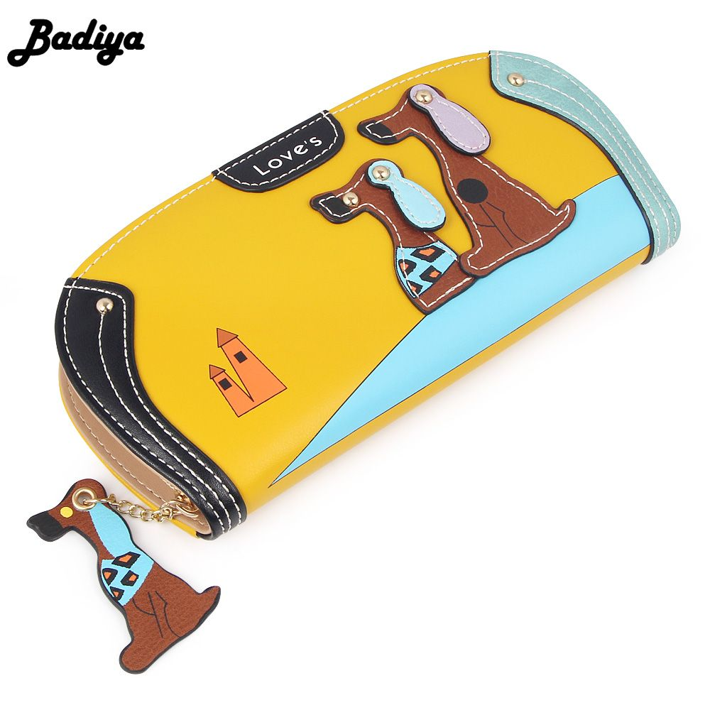 Women LeatherPuppy Cute Playing DogsWallet Large Capacity Zipper Travel Wristlet Bags Clutch Cellphone Bag