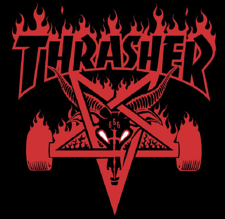 44b4a9d3bddd Perhaps Thrasher s most controversial logo. This one reflects satanism with  the upside down star