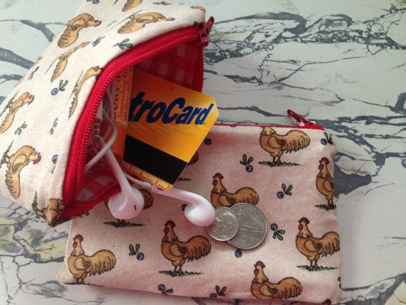 """NEW Vintage Rooster Fabric and Oilcloth Zipper Pouch Coin Purse Coin Pouch Cosmetic Bag Wet Bag 3.5"""" x 5.5"""""""
