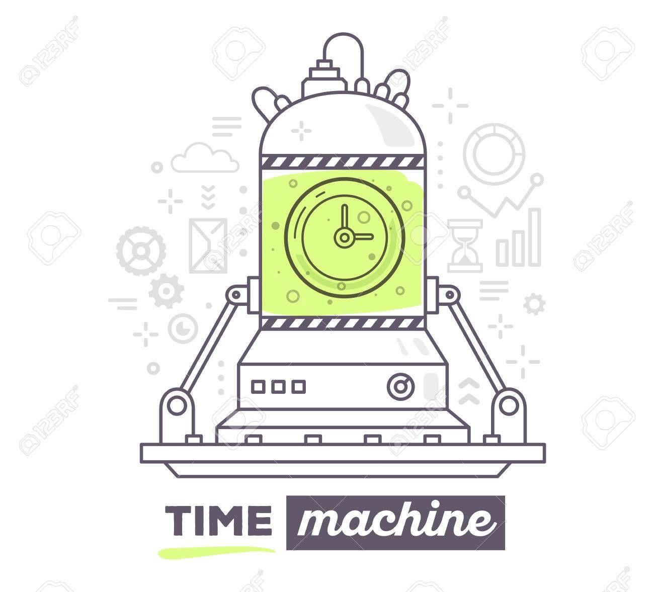 Ilustracion Del Vector Del Mecanismo Creativo Profesional De Maquina Del Tiempo Con Iconos Grises El Texto De La Maquina De Tiempo En El Fondo Blanco Dibujar Dibujos De Maquinas Maquina