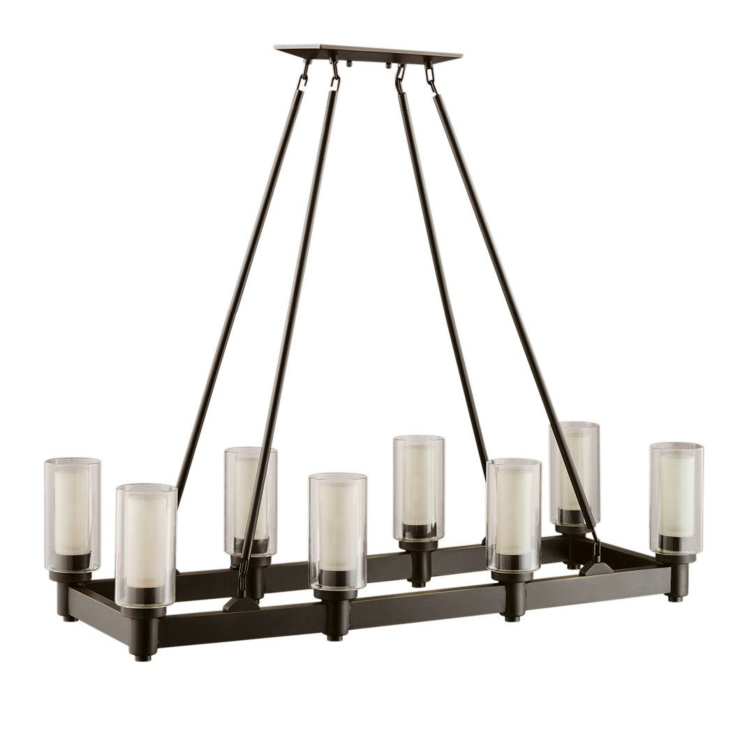 Dining Table 8 Light Linear Chandelier In Olde Bronze