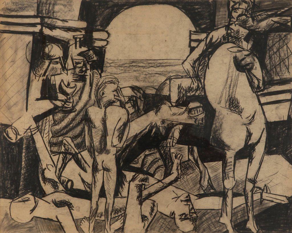 Harald Metzkes – Sterbendes Pferd, 1956, Kohle, 61x76 cm