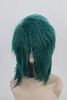 Free Shipping Kiryu Takemasa Kujou Onion Aunt Shaggy Layered Dark Green Medium Cosplay Wig