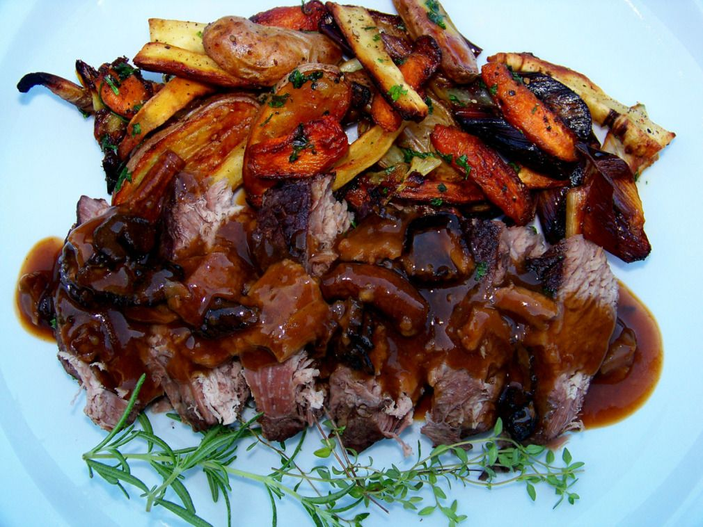 Classic Pot Roast with Mushroom Pan Gravy and Roasted Root