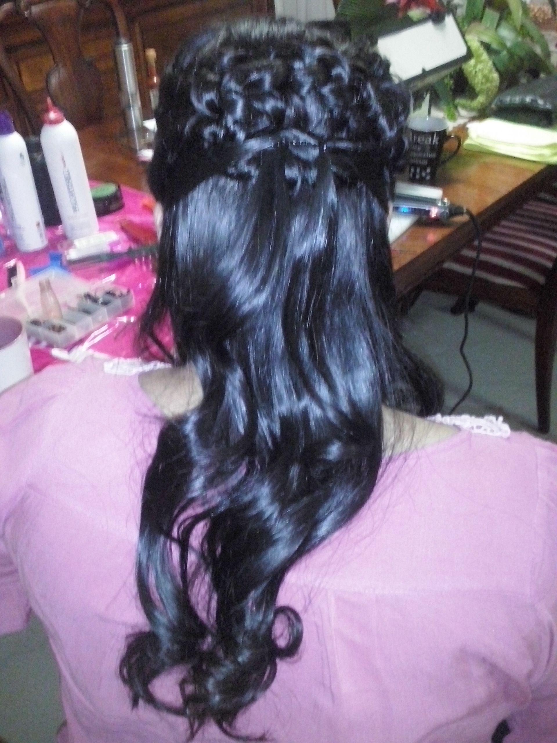 Sensacional peinados medio recogido Galería de cortes de pelo Ideas - Peinado medio recogido con dos trenzas y ondas el los ...