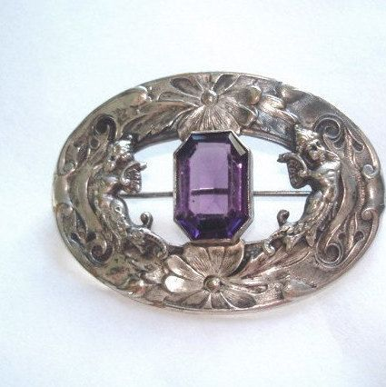 Vintage Art Nouveau  Brooch Jewelry Silver Repousse Amethyst Stone (159.99 USD) by sanibelsands