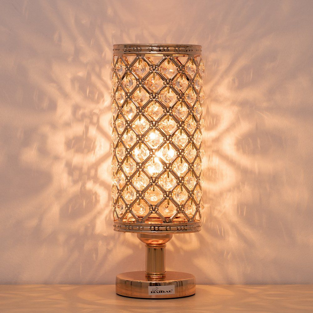 Crystal Bedside Table Lamps Modern Gold Nightstand Desk Lamp With Beads Lampshade Metal Base Stylish Bedside Lamps Gold Lamp Crystal Table Lamps Crystal Lamp