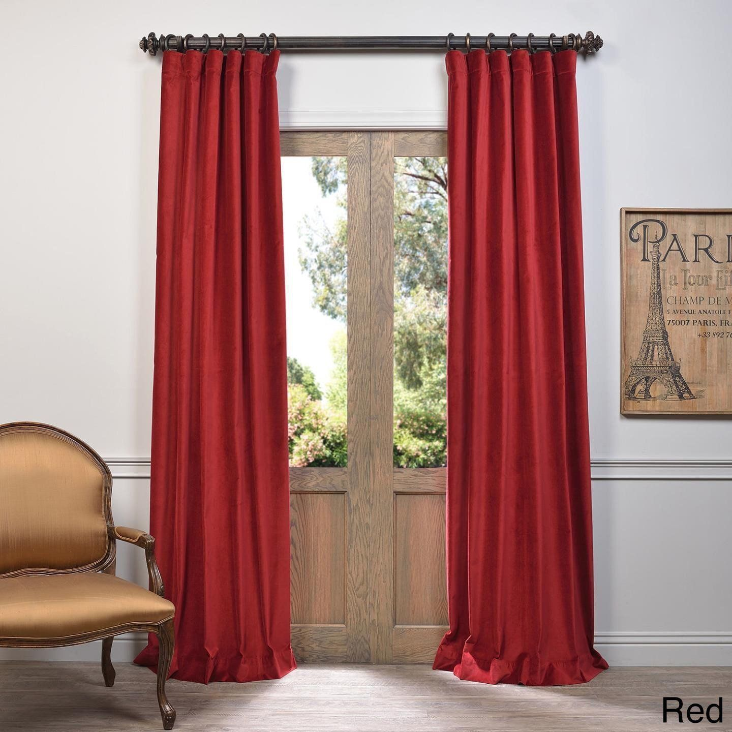 96 Inch Girls Red Color Vintage Curtain Single Panel Red Allover Pattern Window Drapes Kids Themed Energy Efficient Thermal Rod Pocket Playful Drapes Curtains Velvet Curtains Vintage Curtains
