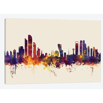 East Urban Home 'Skyline Series: Abu Dhabi, UAE on Beige' by Michael Tompsett Painting Print on Wrapped Canvas Size: