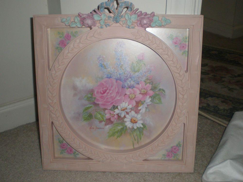 vintage home interior pink framed signed ava freeman retired