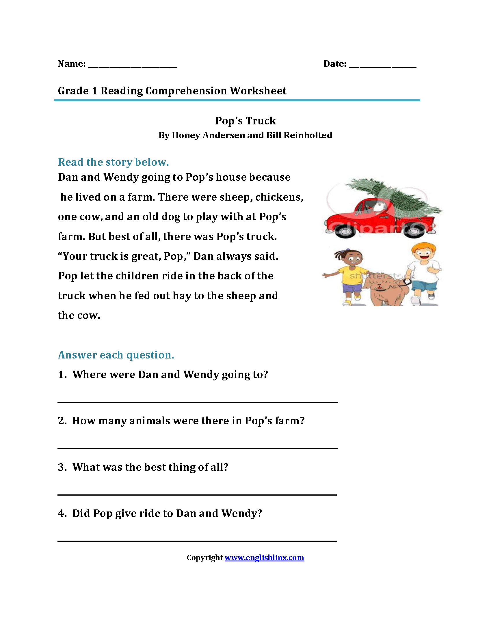 Pop S Truck First Grade Reading Worksheets