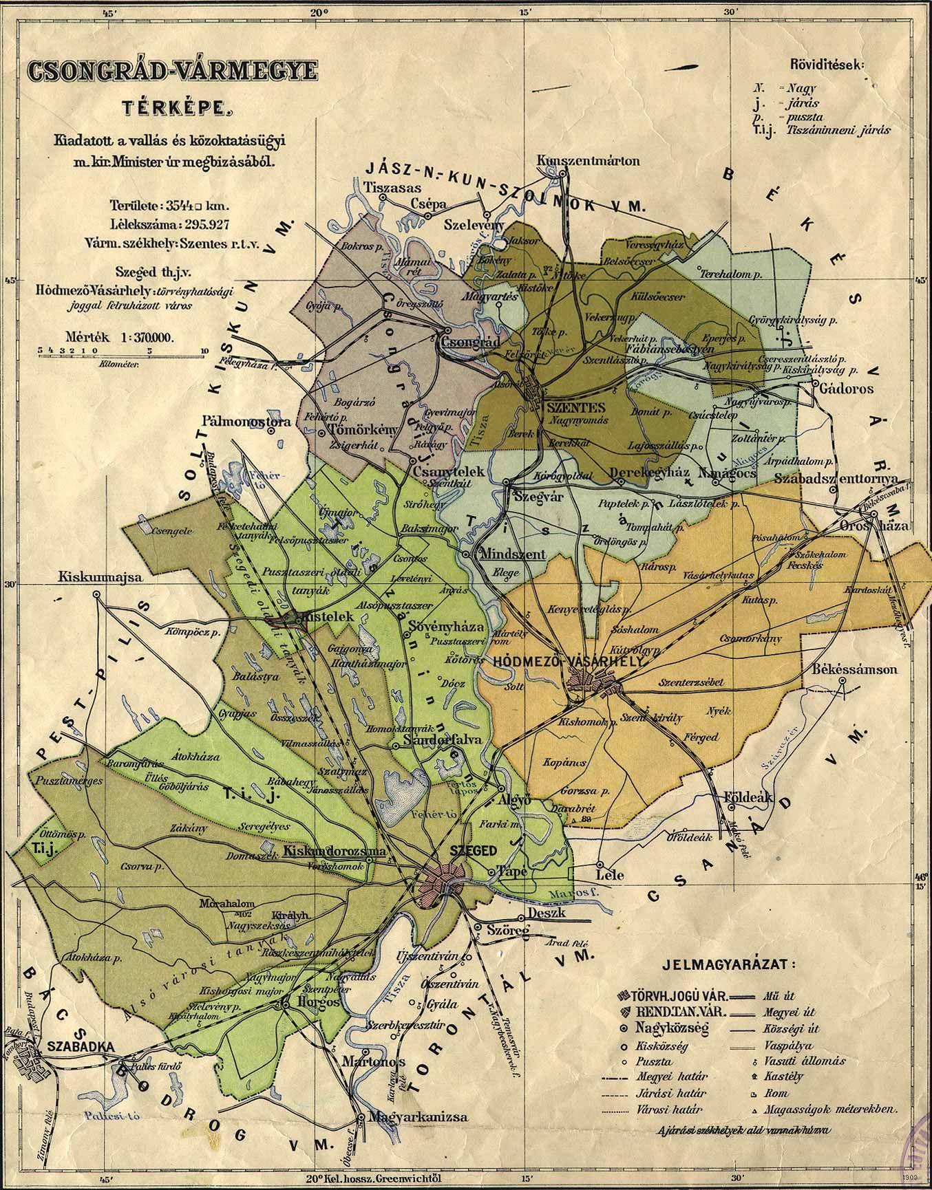 csongrád térkép csongrad. (1354×1730) | Old maps   64 Hungarian counties / 64  csongrád térkép