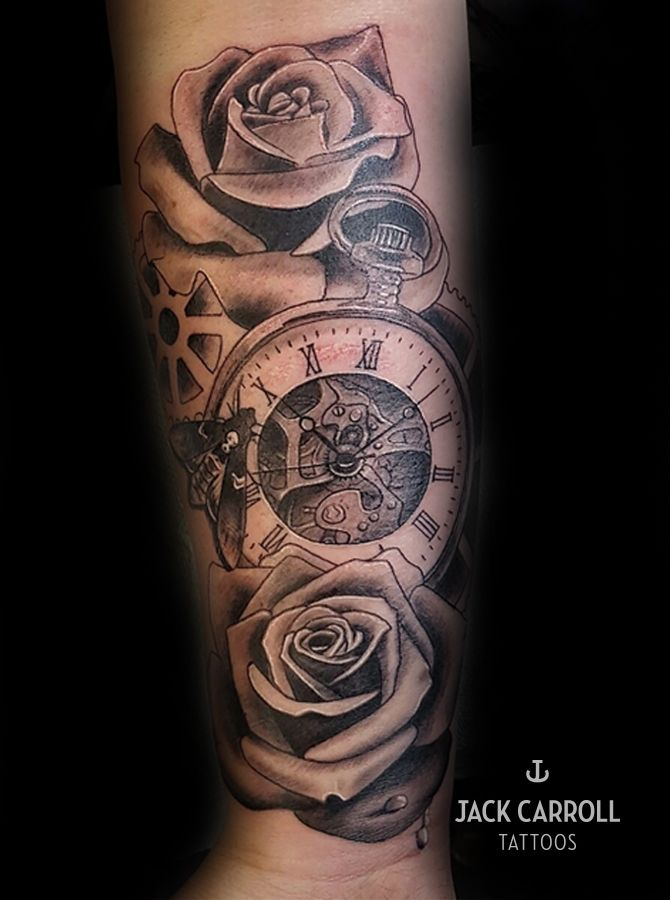 d71b00ac89b8b Realistic black and white pocket watch and rose tattoo | Tattoo ...