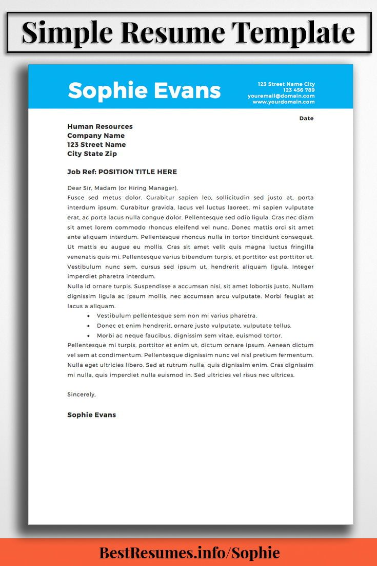 Great Resume Templates For Microsoft Word Resume Template Sophie Evans  Template