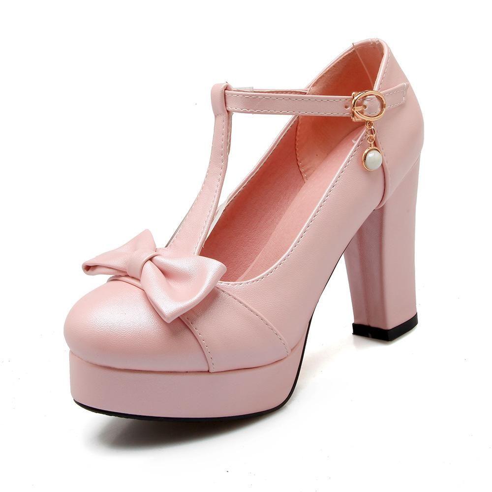 Damen Pumps Mary Janes Blockabsatz High Heels T-Strap Schuhe