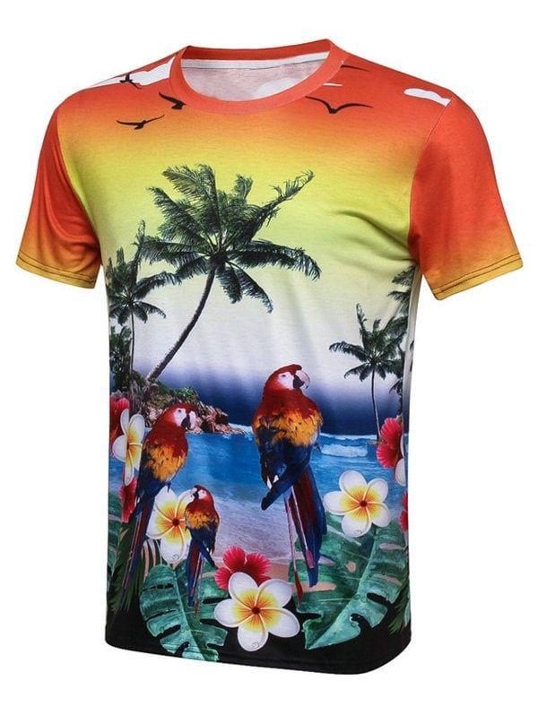 3fbea36d Bird Coconut Tree 3D Print Hawaiian T-Shirt - COLORMIX 3XL ...