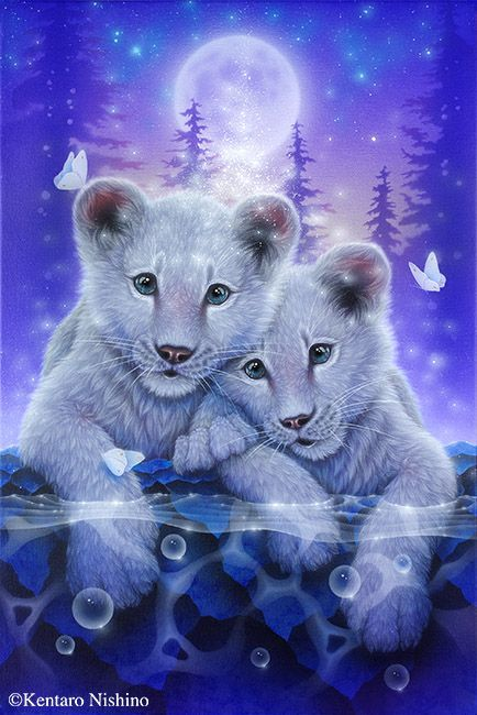 """Together"" White Lions 43.0 × 29.0cm, Acrylic on canvas, 2014 Private Collection Gallery Bigcats2 - Art of Kentaro Nishino"