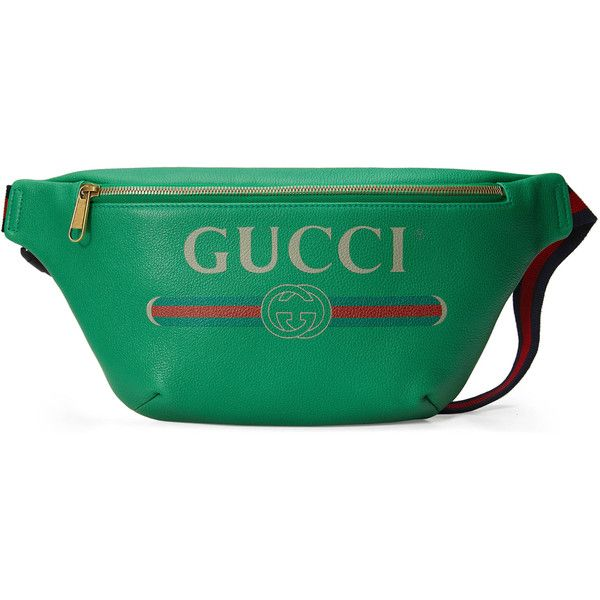 0cf6efa442bb91 Gucci Gucci Print Leather Belt Bag ($1,160) ❤ liked on Polyvore featuring  bags, accessories, green, luggage & lifestyle bags, women, genuine leather  bags, ...