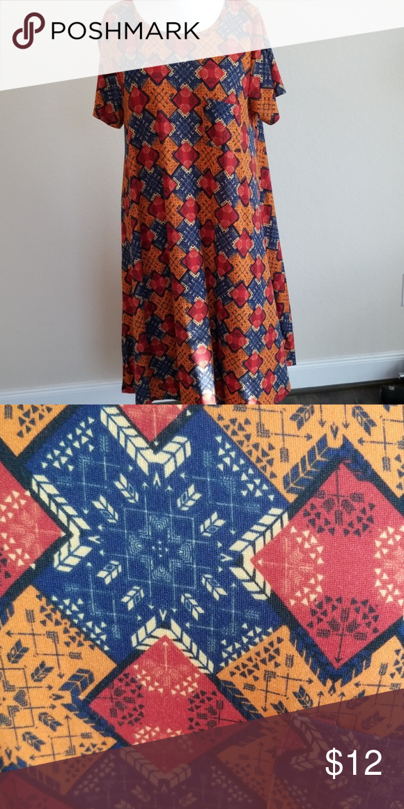 ab4ff76d57ba Patchwork printed high/low dress Beautiful orange background high low Carly  dress. Nearly new condition. LuLaRoe Dresses High Low