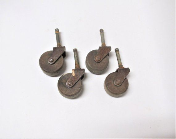 4 Antique Wood Wheels For Furniture Wooden Table Casters Salvaged Hardware Restoration Project