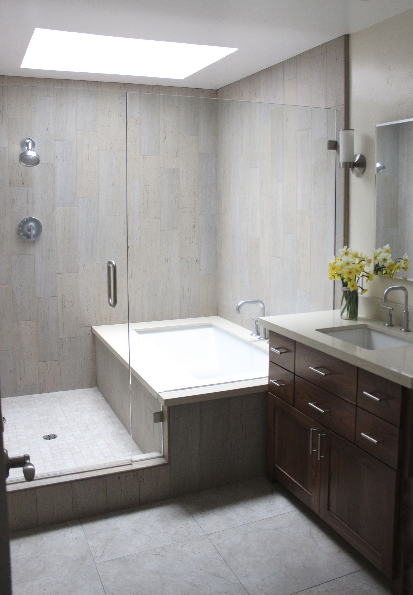 Https://flic.kr/p/kHFrv7 | Kidu0027s Bathroom Remodel Our Design | Combined Bath  Shower Converted Into Separate Ones Glassed In Together; Used Wood Plank ...